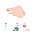 invalid with trauma blood transfusion doctor vector image