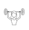 line woman with dumbbell to do exercise vector image vector image