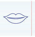 lips sign navy line icon on vector image