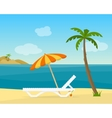 Lounge on the beach under a palm tree vector image vector image