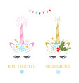 merry christmas greeting card with unicorn vector image vector image