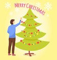 merry christmas man preparing fir tree for xmas vector image vector image