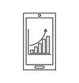 mobile phone technology finance chart arrow vector image vector image