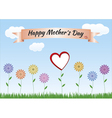 Mothers Day with flowers heart ribbon and landscap vector image