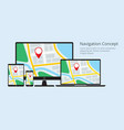 navigation concept responsive map application vector image vector image