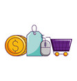 online shopping cart coin money tag price vector image vector image