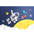 paper cut space cartoon astronaut in cosmos with vector image