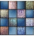 Patchwork of denim fabric vector image