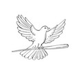 pigeon or dove flying with cane drawing vector image