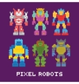 Pixel art isolated robots set vector image vector image