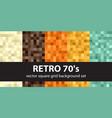 pixel pattern set retro 70s seamless pixel art vector image vector image