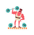portrait strongman lifting dumbbell circus vector image vector image