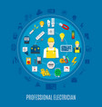 professional electrician round design vector image vector image