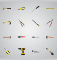 realistic carpenter hatchet tongs and other vector image vector image
