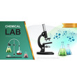 realistic laboratory chemical research template vector image vector image