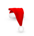 realistic red santa claus hat isolated on white vector image