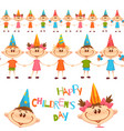 seamless pattern with cute children happy vector image
