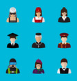 set of 9 editable occupation flat icons includes vector image vector image
