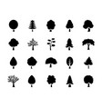 set of trees glyph icons vector image