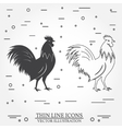 set rooster silhouette and thin line icons vector image