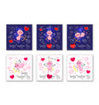 valentines day cards with cute cupids and hearts vector image vector image