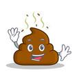 waving poop emoticon character cartoon vector image