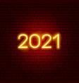 2021 neon text vector image vector image
