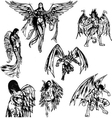 Angels and Demons - Hand Drawn Sketch vector image vector image