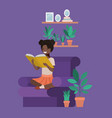 black student girl sitting reading book in vector image