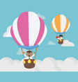 businessman two flying on balloon challenge vector image vector image
