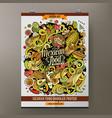 cartoon hand drawn doodles mexican food poster vector image vector image