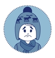 Character sad boy in winter hat and scarf vector image vector image