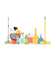 cleaning tools in flat cartoon style vector image vector image
