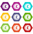 coins of pound icon set color hexahedron vector image vector image