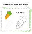coloring and drawing book element carrot hand vector image