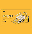 diy repair isometric banner engineering tools vector image vector image