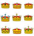 elegent crown style doodle collection vector image vector image