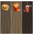 fast food banner with burgerfries and cola vector image