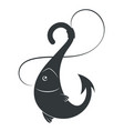 fish on a hook and line vector image vector image