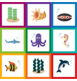 flat icon nature set of playful fish seashell vector image vector image