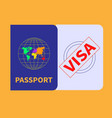 foreign passport and visa stamp concept vector image vector image