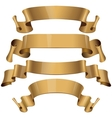 Gold Glossy ribbons on a white background vector image vector image