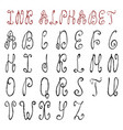 handwritten ink alphabet vector image