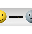 happy and sad face ball emotional background vector image vector image