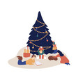happy family spending time together at xmas eve vector image vector image