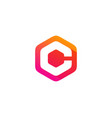 hexagon letter c logo icon design vector image