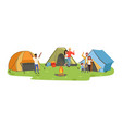 hiking tourists enjoying camping traveling and vector image vector image