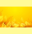 hot yellow summer tropical leaves paper cut style vector image vector image