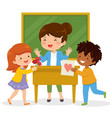 kids loving their teacher vector image vector image