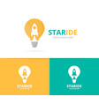 lamp and rocket logo combination lightbulb vector image vector image